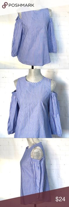 Chambray Pinstriped Cold Shoulder Top SZ Small Size: Small Bust:  Length:  Sleeve length:  Condition: New - Smoke/Pet Free How I Roll: No Trades/ No offsite Monkey Business/ I Love Bundles & Offers/ Please Ask Questions if you have them!  *All measurements taken while item is laid flat and across the front.   Thank you for stopping by my closet! # Tops