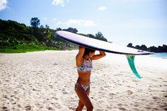 Kelia Moniz finding shade in the Seychelles