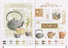 point de croix grille et couleurs de fils thé et theiere japonais