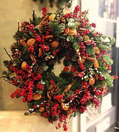 Wreath - Ilex, Oranges, Pussy willow, Cones and Euc