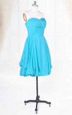 Charming Chiffon Blue Bridesmaid Gown Sweetheart A Line Cocktail Dress (tons of other colors available)
