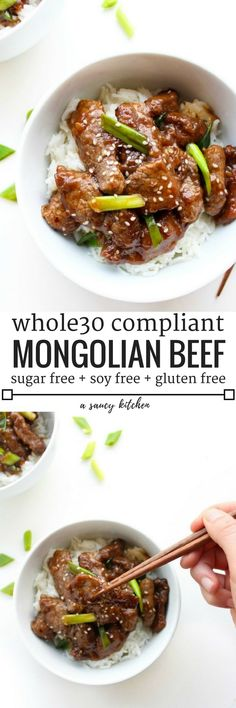 Whole 30 compliant Paleo Mongolian Beef   10 ingredients, gluten, sugar, & soy free   Ready in less than 30 minutes!