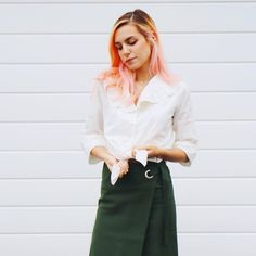 Marzia Bisognin   white blouse from oliveclothing   green   pink hair