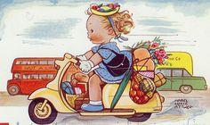Mabel Lucie Attwell - Lambretta Girl Postcard