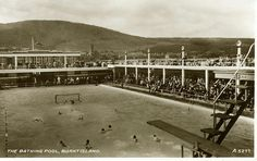 Postcard of the original Burntisland Bathing Pool sited at the Lammerlaws. Opened 1936. Closed 1979.