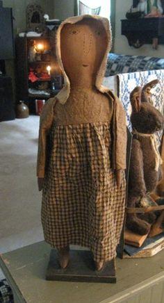 Handmade Primitive Emma Doll  primitive decor,early style doll rag stuffed