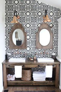 fun for powder bath- tile Master Bathroom Renovation- How to achieve a farmhouse style bathroom- farmhouse style- bathroom- remodeled bathroom- farmhouse bathroom- cement tile- copper accents- farmhouse style- bathroom update- bathroom reveal- bath Wooden Bathroom Vanity, Wood Vanity, Master Bathroom, Wood Bath, Rustic Vanity, Bathroom Cabinets, Gold Bathroom, Bathroom Mirrors, Vanity 6