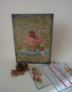 Wooden box-book cooking recipes My old cookbook by VesArtAtelier