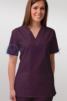 Bluza medyczna damska, taliowana, śliwkowy.
