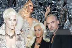 Phillipe Blond and David Blond pose next to Phillipe Blond mannequins during Rootstein Presents: Phillipe Blond - 'The Blonds Collection - A Retrospective' at 205 West 19th Street on September 9, 2015 in New York City.