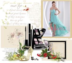 """""""Custom Made High-low Prom Dress With Sweetheart Turquoise Beading and Ruch For Graduation"""" by gorgeousdressesforyou ❤ liked on Polyvore"""