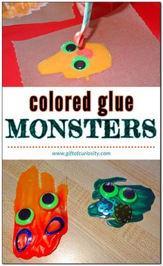 Colored Glue Monsters creative craft project #artsandcrafts #Halloween #giftofcuriosity    Gift of Curiosity