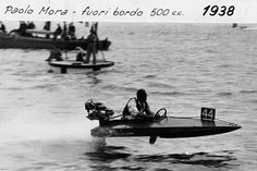 Paolo Mora racing in 1938 with a 500 cc outboard boat #Riva #Rivayacht #MadeinItaly #Luxury