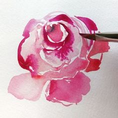 Painting a loose and whimsicalrose is all about using whatever brush you have to the max. Rose petals are most often unpredictable. They curve in and and around one another revealing wide open areas and thin silhouettes of a petal. I always begin at the center with a modified teardrop. I then begin making 1/4, 1/2 or 3/4 half circles around the center. I rarely lineup the brushstrokes as I move around the center which gives the bloom that organic, opening effect. While the strokes are…