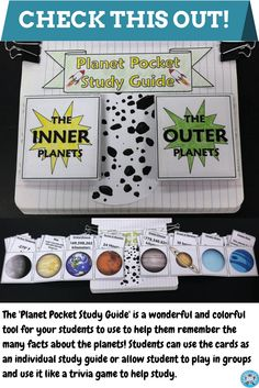 This is an expandable, interactive guide about the planets of our solar system! After construction, this interactive notebook activity can be used as a personal study tool or as a group study tool. Play it like a trivia game with others or like flashcards with a partner!