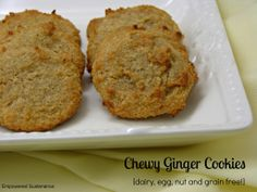 Grain Free Chewy Ginger Cookies - Empowered Sustenance; sub gelatin for liquid egg whites as binding agent