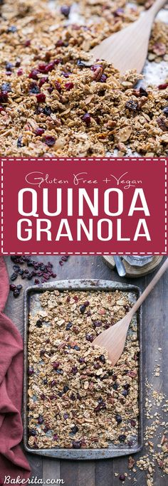 This Quinoa Granola is a nutty, crunchy breakfast or snack option that's packed with whole grains and protein. This maple-sweetened granola is gluten-free and vegan, with cinnamon and dried cranberries for flavor! The quinoa bakes up into delicious clusters. #ad @bobsredmill
