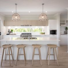 Could this be your new Walk Right In kitchen? Come visit 3 of our latest display homes now open in 'The Surrounds' Estate, Clover Way… Modern Kitchen Design, Interior Design Kitchen, Home Design, Modern Interior, Open Plan Kitchen, New Kitchen, Kitchen Dining, Basement Kitchen, Awesome Kitchen