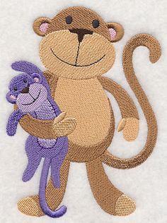 Sleepy Monkey with Stuffed Monkey design (L3367) from www.Emblibrary.com