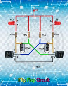 me ~ Flip Flop Circuit. Led Projects, Electrical Projects, Arduino Projects, Electronic Circuit Design, Electronic Engineering, Electrical Engineering, Electronics Projects, Simple Electronics, Electronics Components