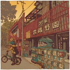 Vor drei Jahren begann Shinji Tsuchimochi mit seiner Arbeit an der Illu-Serie 100 Views of Tokyo, in Anlehnung an die Holzschnittserie 100 berühmte Ansichten von Edo von Utagawa Hiroshige.     Je