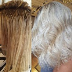 Warm to Cool ❄❄❄ • • • Breakdown in previous post  Glaze➡wella color touch 8/81 on roots 9/01 on ends  #behindthechair #locksbymarianne #iceblonde #wellahair #wellalife #beforeandafter #transformationthursday #balayagedandpainted
