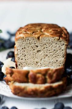 This Grain Free & Paleo Banana Bread recipe is incredibly easy to make in a blender! Light and airy bread with a delicious crust, this banana bread only takes 5 minutes to whip up and then it's in the oven. Healthy Bread Recipes, Sandwich Bread Recipes, Paleo Bread, Low Carb Bread, Banana Bread Recipes, Gluten Free Recipes, Cooking Bread, Bread Baking, Comidas Paleo