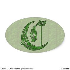 Letter C Oval Sticker #Alphabet #Letter #Embossed #Art #Celtic #Sticker #Oval