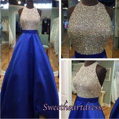 navy blue sequins halter A-line prom dress
