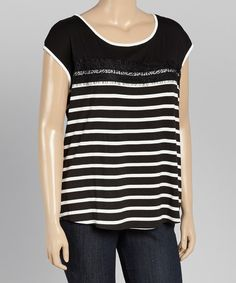 Look at this Black & White Lace-Trim Stripe Top - Plus on #zulily today!