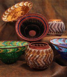 White African Fair Trade 16-inch Round Centerpiece Basket