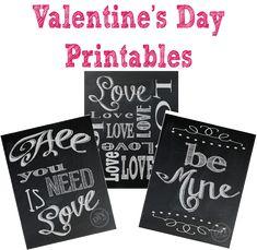 Cute chalkboard Valentine's Day printables