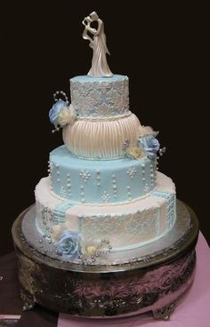 winter wedding cake I don't really care for the colors but I like the cake design for the most part