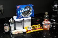 Oreo Pizookie - flour, cocoa, baking soda, salt, butter, sugar, egg, corn syrup, chocolate, vanilla, oreos, semisweet chocolate chips