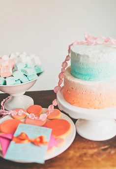 ombre cake- invite (mint with coral ribbon)