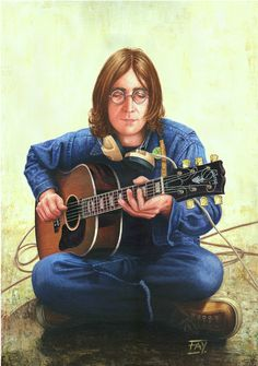 commissioned acrylic on canvas - client required colour painting based on mono Acoustic Guitar image of Lennon. Due to the response from viewers and many requests for copies of Acoustic Guitar I ha...