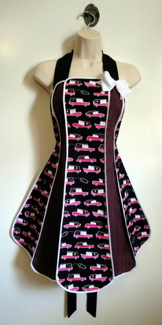 Vintage inspired Eerie Alley Hearse stylist / kitchen apron by XO Skeleton Creations