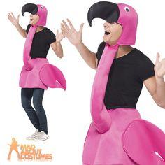 Adult Flamingo Fancy Dress Costume Bird Men Ladies Animal Male Female Stag Party