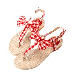 Grace giftGrace gift 官方購物網站 - 格紋蝴蝶結麻編底T字涼鞋