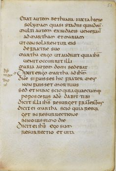 A page from the St Cuthbert (formerly Stonyhurst) Gospel - the raising of Lazarus (John 11).