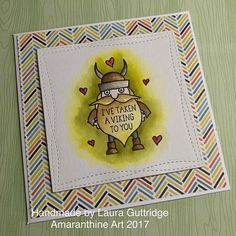 I love this little guy! I've been busy starting work on the Valentines cards for my Etsy store and working on some new YouTube content  here's my latest creation, what do you think? #averyelle #viking #stamping #inking #watercolour #cardmaking #valentines #distressink #stitching #love #craft #art #youtube #etsy