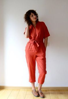 Short sleeve burnt orange kimono style linen jumpsuit. *please write us your height during checkout as we want that your jumpsuit won't be too long or too short. Thanks! -------------------------------------------------------------------------------------------------------- ABOUT: This