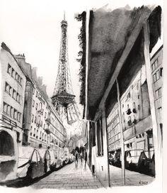 La Tour - Perspective Watercolor/ Aquarelle by Nicolas Jolly Tour Eiffel, Watercolor Paintings, Original Paintings, Painting Art, Watercolour, Eiffel Tower Drawing, Famous Places, Art Graphique, Beautiful Drawings