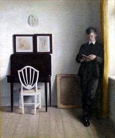 Vilhelm Hammershøi 1898 - Interiør med læsende ung mand - Vilhelm Hammershøi - Wikipedia, the free encyclopedia