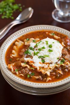 Lasagna Soup - tastes just like lasagna in hearty, comforting and delicious soup form. I love this soup!!