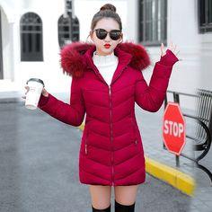 2f78ddc46c61 2019 Winter Jacket Women thick Winter Coat Lady Clothing Female Jackets  Long Parkas Fake fur collar