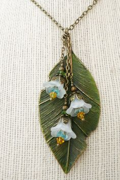 Long leaf and lucite flower necklace No N51 by VerdigrisGifts, $25.00