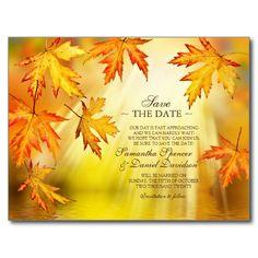 Autumn / Fall Wedding Save The Date Postcard Postcard