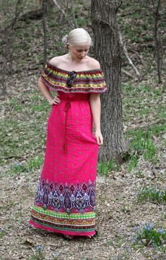 For a dressier look, try an off the shoulder maxi dress in a bright hue! #paisley #ruffle #maxidress