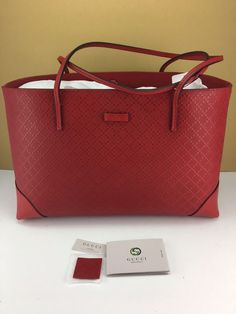 645a913c1937 Details about GUCCI Brand New RED LEATHER DIAMANTE TOTE PURSE HANDBAG NWT